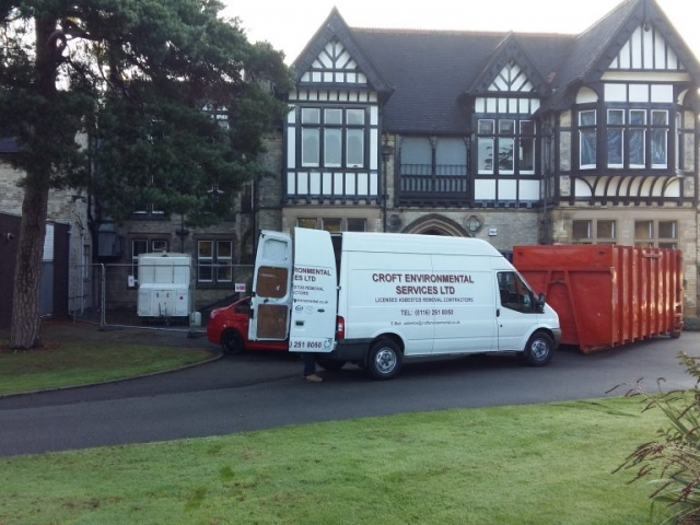 Croft Environmental van and equipment outside a listed property to carry out domestic asbestos removal.