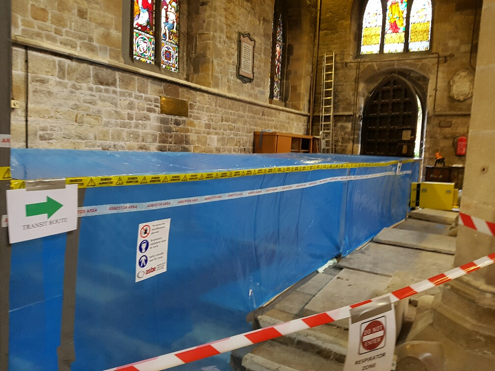 Safety equipment set up in a church to remove asbestos