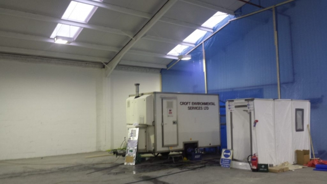 Croft Environmental equipment set up to remove asbestos in a commercial space.