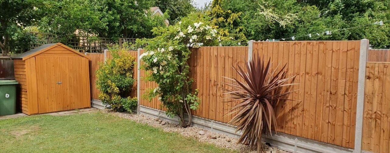 An image of a residential garden featuring grass, 3 bushes and a brown fence fitted by Croft Environmental.